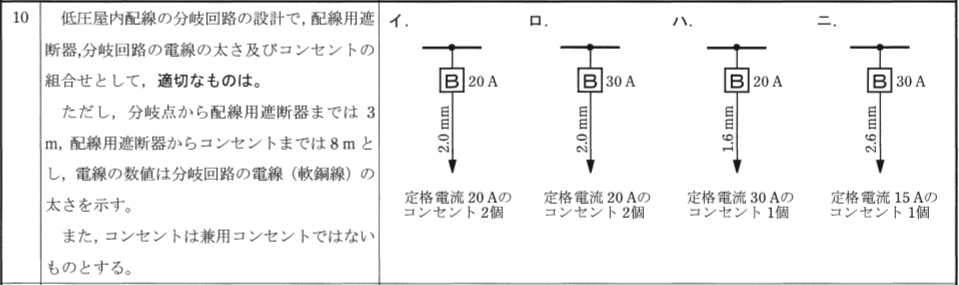 第二種電気工事士 筆記試験の過去問題2